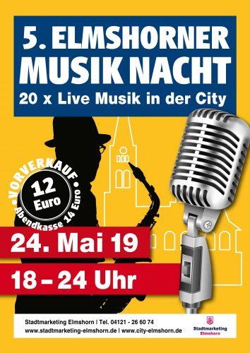 Plakat 5. Elmshorner Musiknacht 2019; Stadtmarketing Elmshorn